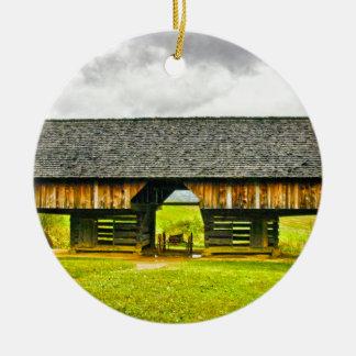 Cades Cove Cantilever Barn at the Tipton Place Ceramic Ornament