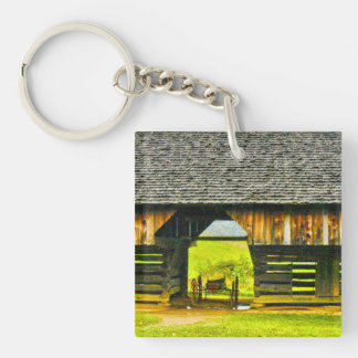 Cades Cove Cantilever Barn at the Tipton Place Double-Sided Square Acrylic Keychain