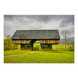 Cades Cove Cantilever Barn at the Tipton Place Poster