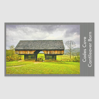 Cades Cove Cantilever Barn at the Tipton Place Rectangular Sticker