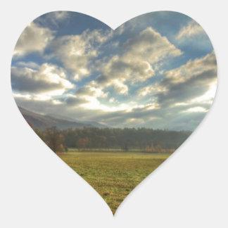 Cades Cove Morning Sun Rays Heart Sticker