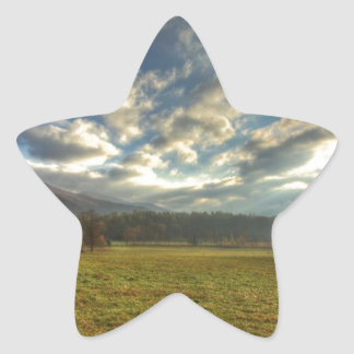 Cades Cove Morning Sun Rays Star Stickers