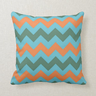 Cadet Blue Carrot Orange Chevron Zigzap Pattern Throw Pillow