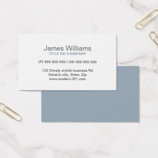 Cadet gray modern generic simple elegant personal business card