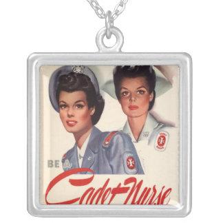 Cadet Nurse Square Pendant Necklace