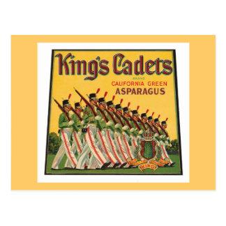Cadets Vintage Asparagus Label de rey Tarjeta Postal