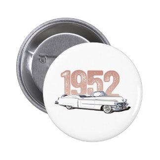 Cadillac 1952 Coupe De Ville, convertible blanco Pin Redondo De 2 Pulgadas