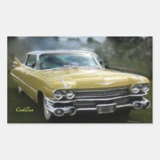 Cadillac amarillo rectangular pegatina