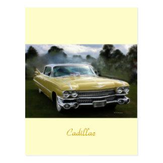 Cadillac amarillo tarjetas postales