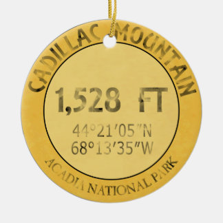 Cadillac Mountain Double-Sided Ceramic Round Christmas Ornament