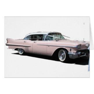 Cadillac rosado tarjeta de felicitación