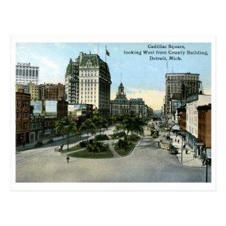 Cadillac Square, Detroit MI Vintage Postcard