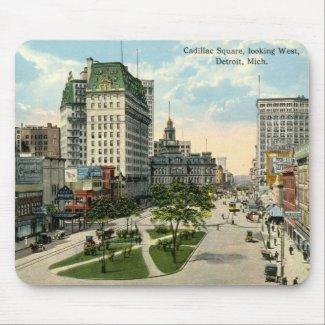 Cadillac Square, Detroit Michigan, 1915 Vintage mousepad