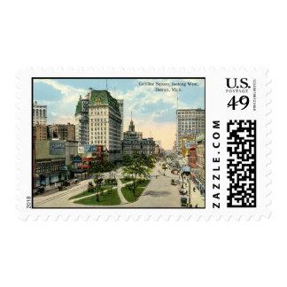 Cadillac Square, Detroit Michigan, 1915 Vintage Postage