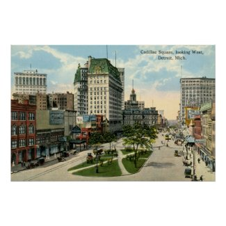 Cadillac Square, Detroit Michigan, 1915 Vintage print