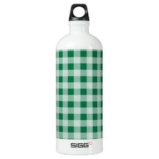 Cadmium Green Gingham; Checkered Aluminum Water Bottle