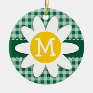 Cadmium Green Gingham; Checkered; Daisy Christmas Tree Ornament