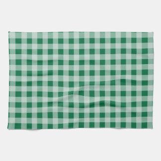 Cadmium Green Gingham; Checkered Hand Towels