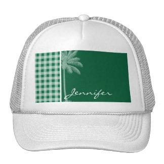 Cadmium Green Gingham; Checkered; Palm Mesh Hat