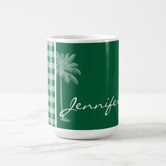 Cadmium Green Gingham; Checkered; Palm Coffee Mug