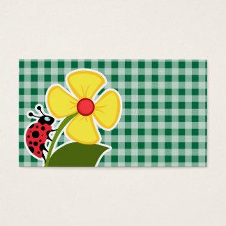 Cadmium Green Gingham; Ladybug Business Card