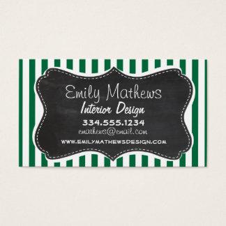 Cadmium Green Stripes; Retro Chalkboard Business Card