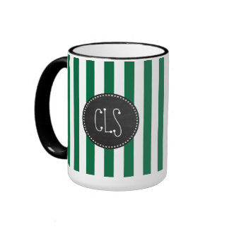 Cadmium Green Stripes; Retro Chalkboard Ringer Coffee Mug