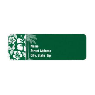 Cadmium Green Tropical Hibiscus; Palm Return Address Labels