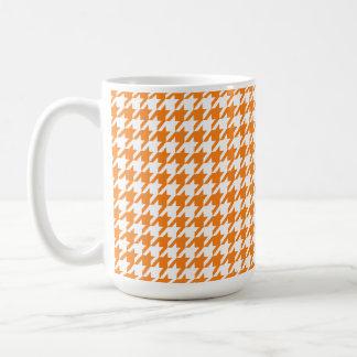 Cadmium Orange Houndstooth Classic White Coffee Mug