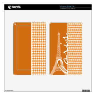 Cadmium Orange Houndstooth Skin For Kindle Fire