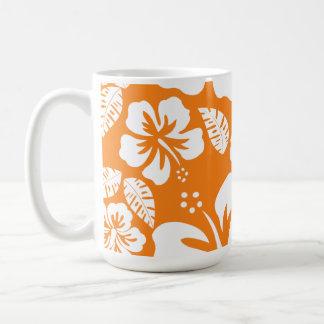 Cadmium Orange Tropical Hibiscus Classic White Coffee Mug