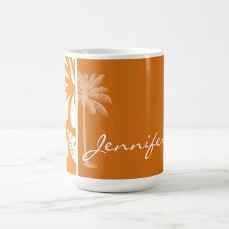Cadmium Orange Tropical Hibiscus; Palm Mugs