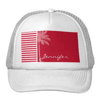 Cadmium Red Stripes; Striped; Palm Mesh Hats