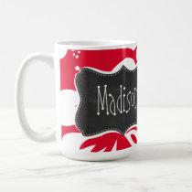 Cadmium Red Tropical Hibiscus; Chalkboard Coffee Mug