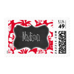 Cadmium Red Tropical Hibiscus; Chalkboard Postage Stamp