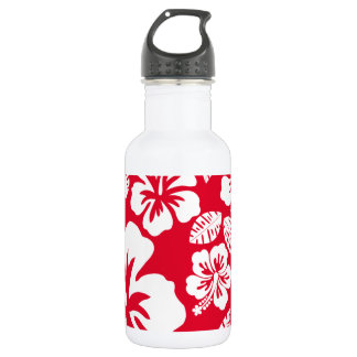 Cadmium Red Tropical Hibiscus Flowers 18oz Water Bottle