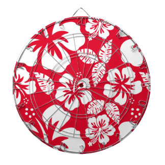 Cadmium Red Tropical Hibiscus Flowers Dartboard With Darts
