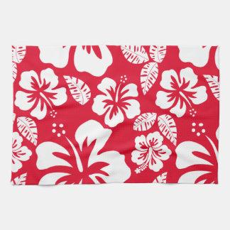 Cadmium Red Tropical Hibiscus Flowers Kitchen Towel