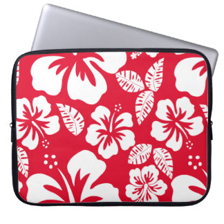 Cadmium Red Tropical Hibiscus Flowers Laptop Sleeve
