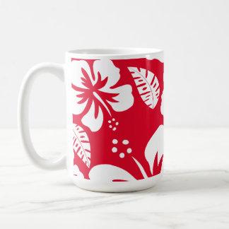 Cadmium Red Tropical Hibiscus Flowers Classic White Coffee Mug