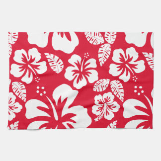 Cadmium Red Tropical Hibiscus Flowers Towel
