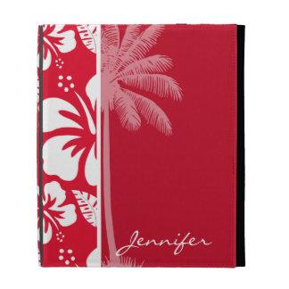 Cadmium Red Tropical Hibiscus; Palm iPad Folio Covers