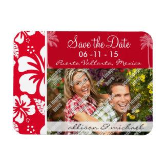 Cadmium Red Tropical Hibiscus; Palm Vinyl Magnet