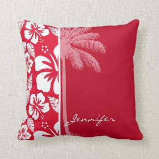 Cadmium Red Tropical Hibiscus; Palm Throw Pillow