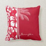 Cadmium Red Tropical Hibiscus; Palm Throw Pillows
