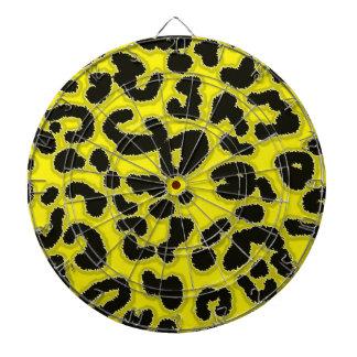 Cadmium Yellow Leopard Animal Print Dartboard