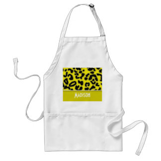 Cadmium Yellow Leopard Animal Print; Personalized Adult Apron