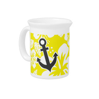 Cadmium Yellow Tropical Hibiscus; Anchor Drink Pitchers