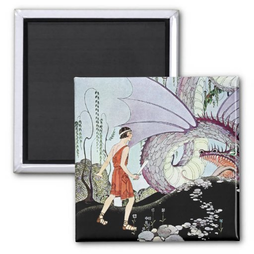 Cadmus and the Dragon from Tanglewood Tales 2 Inch Square Magnet