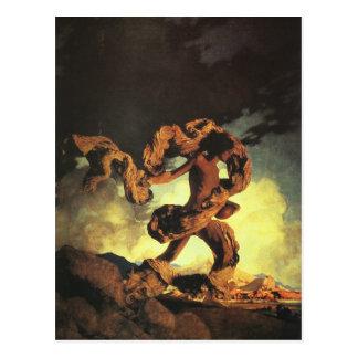 Cadmus que siembra los dientes del dragón, postales